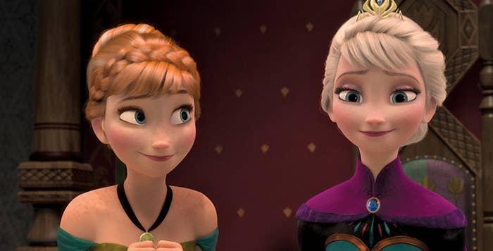 Anna and Elsa smirking.