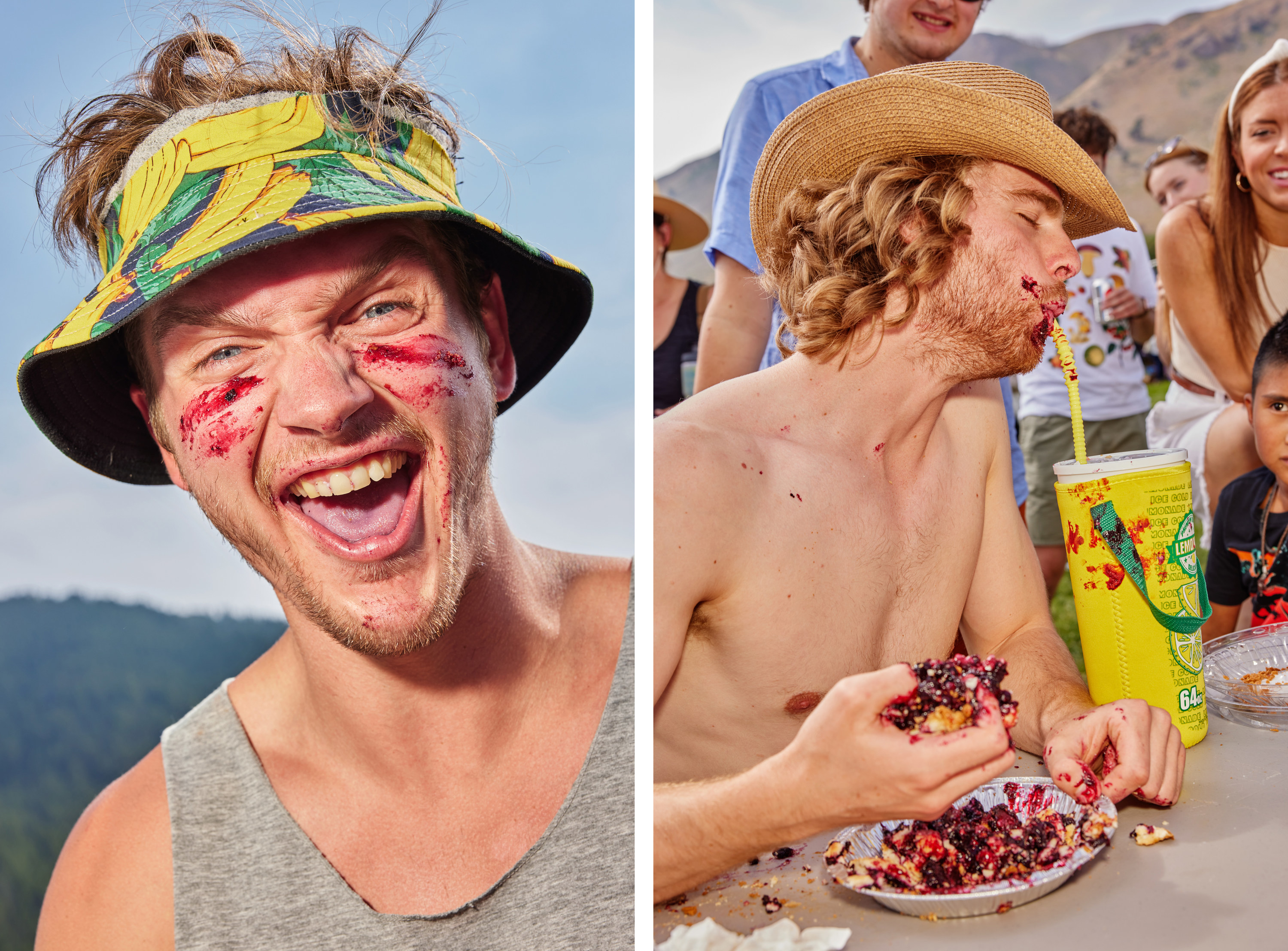 Left, a man with pie smeared over his face in an open-top bucket hat, right, a mad gulps water with a fistful of pie during the contest