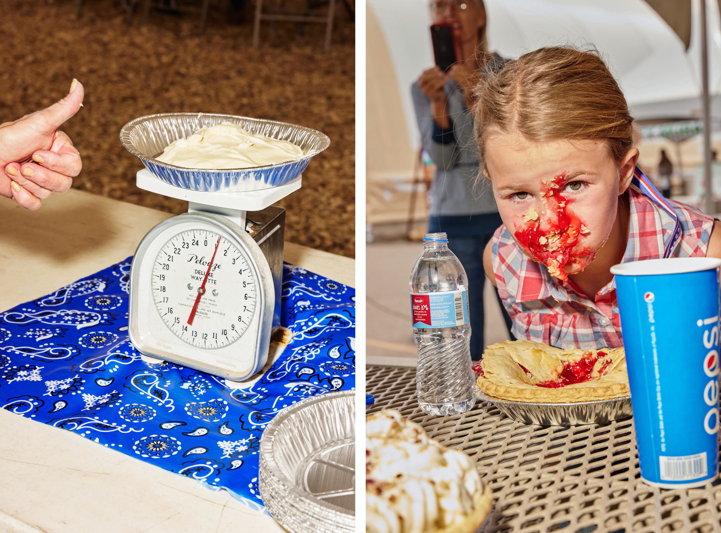 Left, a woman gives a thumbs-up as she weighs a pound of custard, right, a girl with her face covered by pie filling as she sits at a table