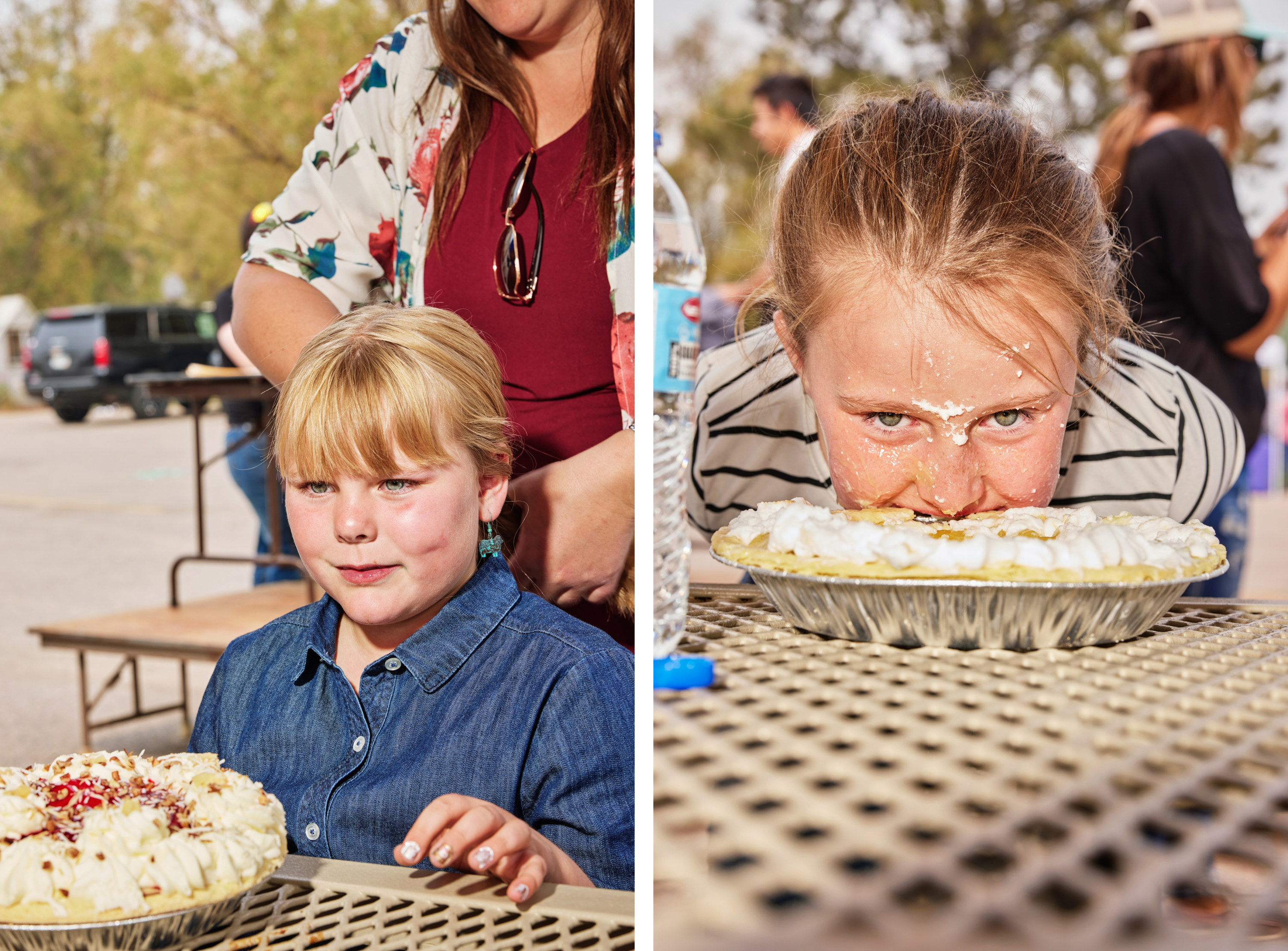 Left, a girl sitting in front of a large pie, right, a girl with her face in a small pie