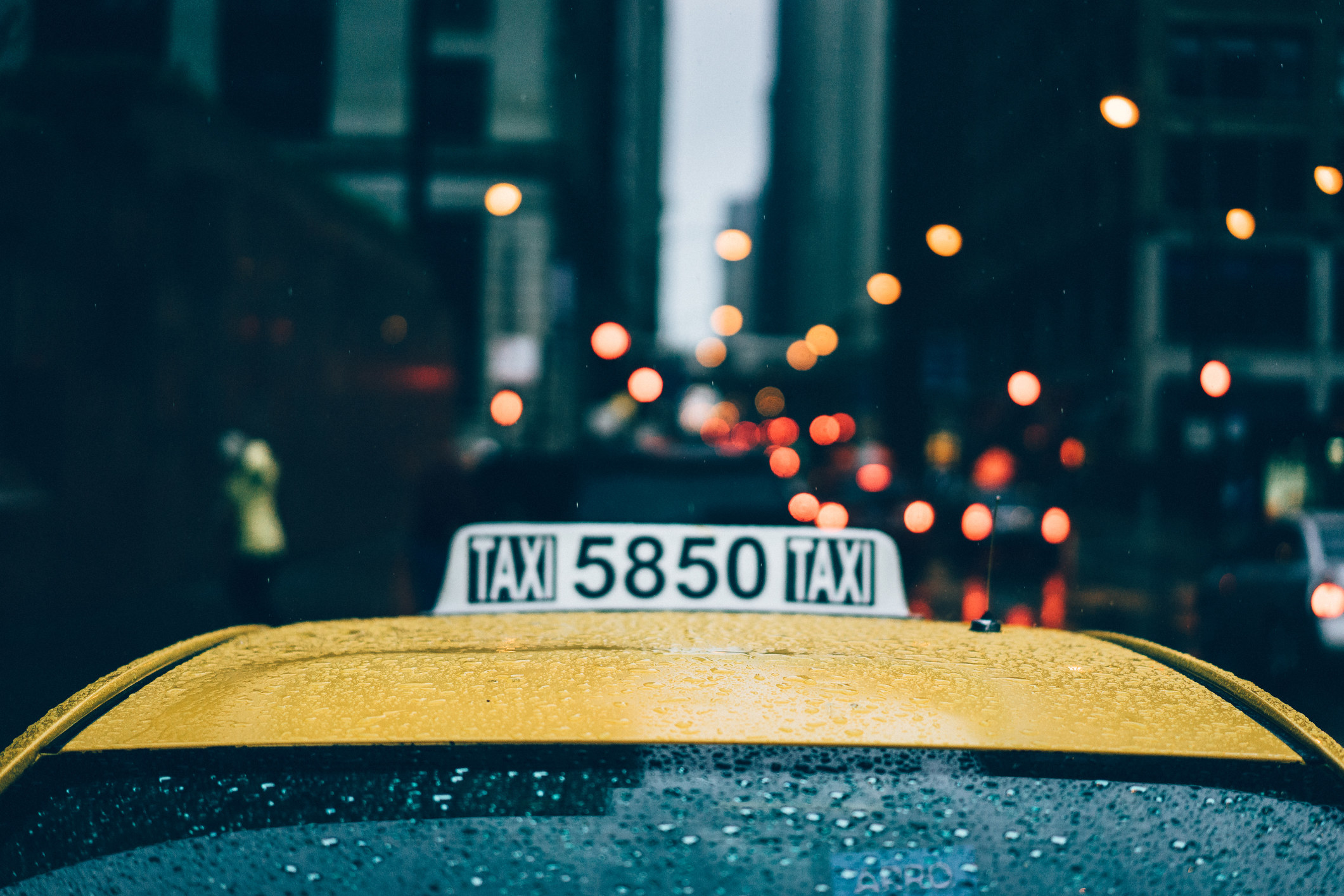 A yellow taxi in NYC.