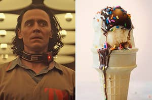 On the left, Loki wearing a tracking device around his neck, and on the right, a vanilla ice cream cone topped with chocolate sauce and sprinkles