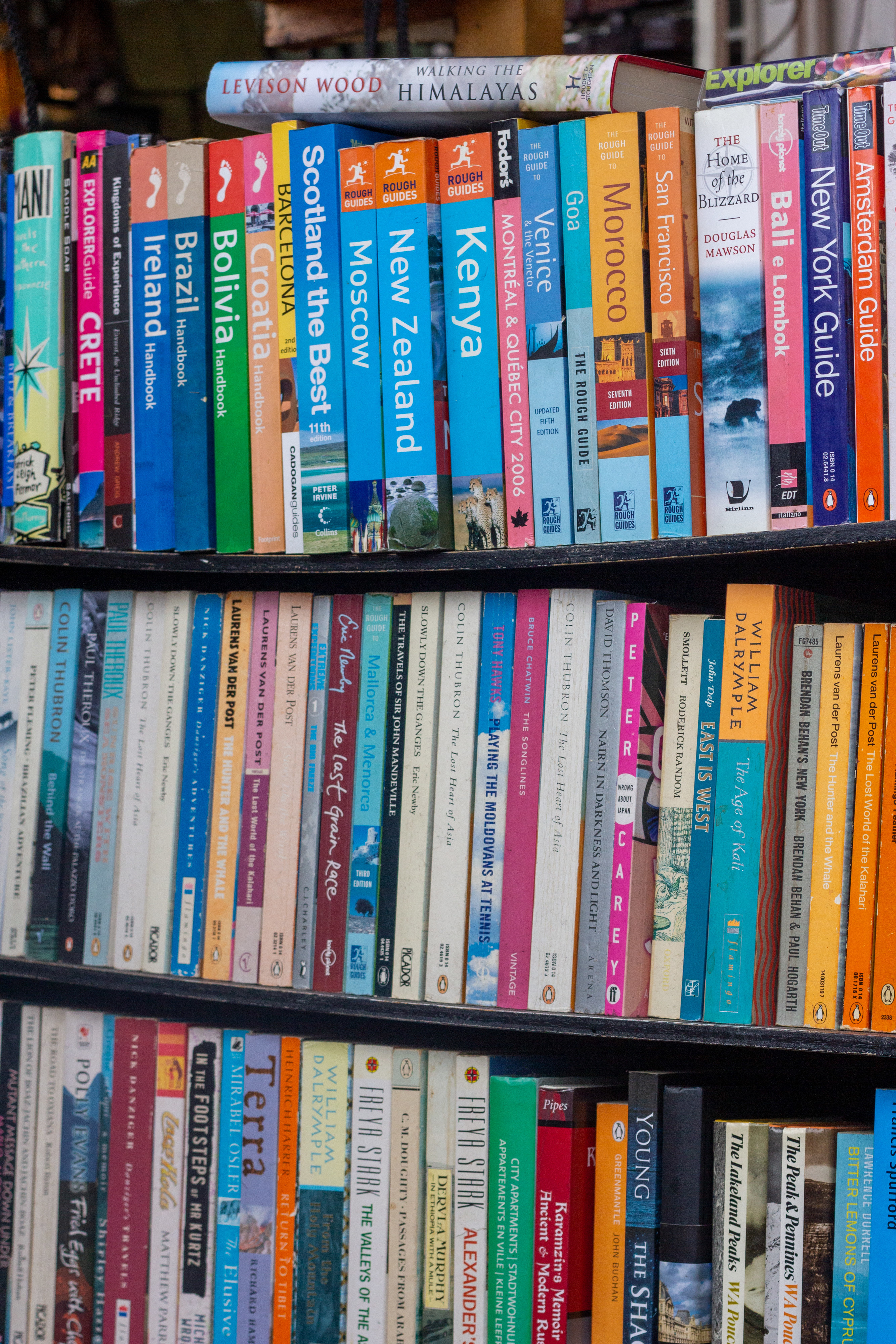 Travel books and guides arranged in a library