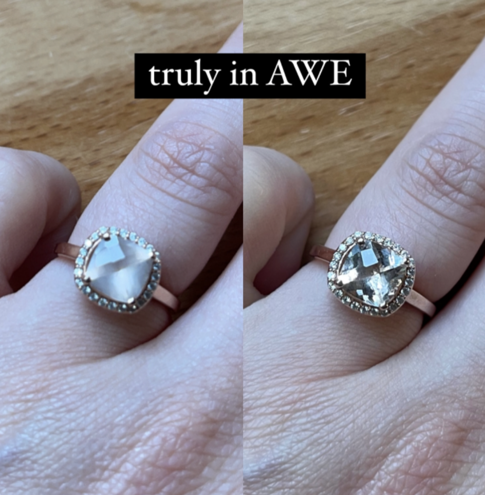 a before and after photo of buzzfeed editor stephanie hope's engagement ring looking shiny and clean after using the diamond dazzle pen