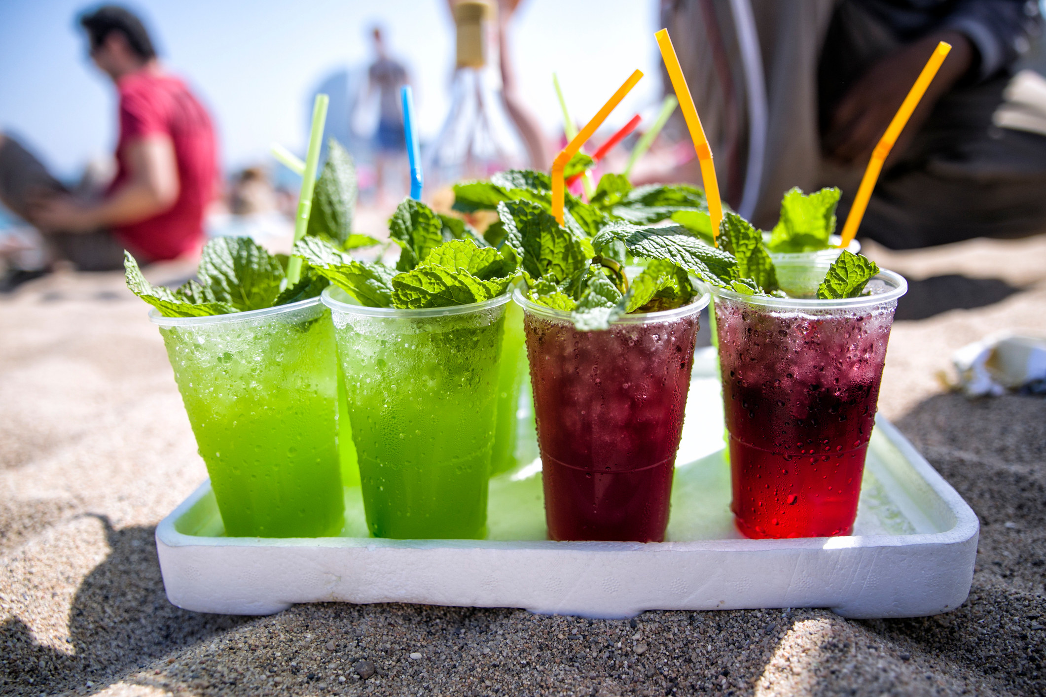 Tropical cocktails on a beach.