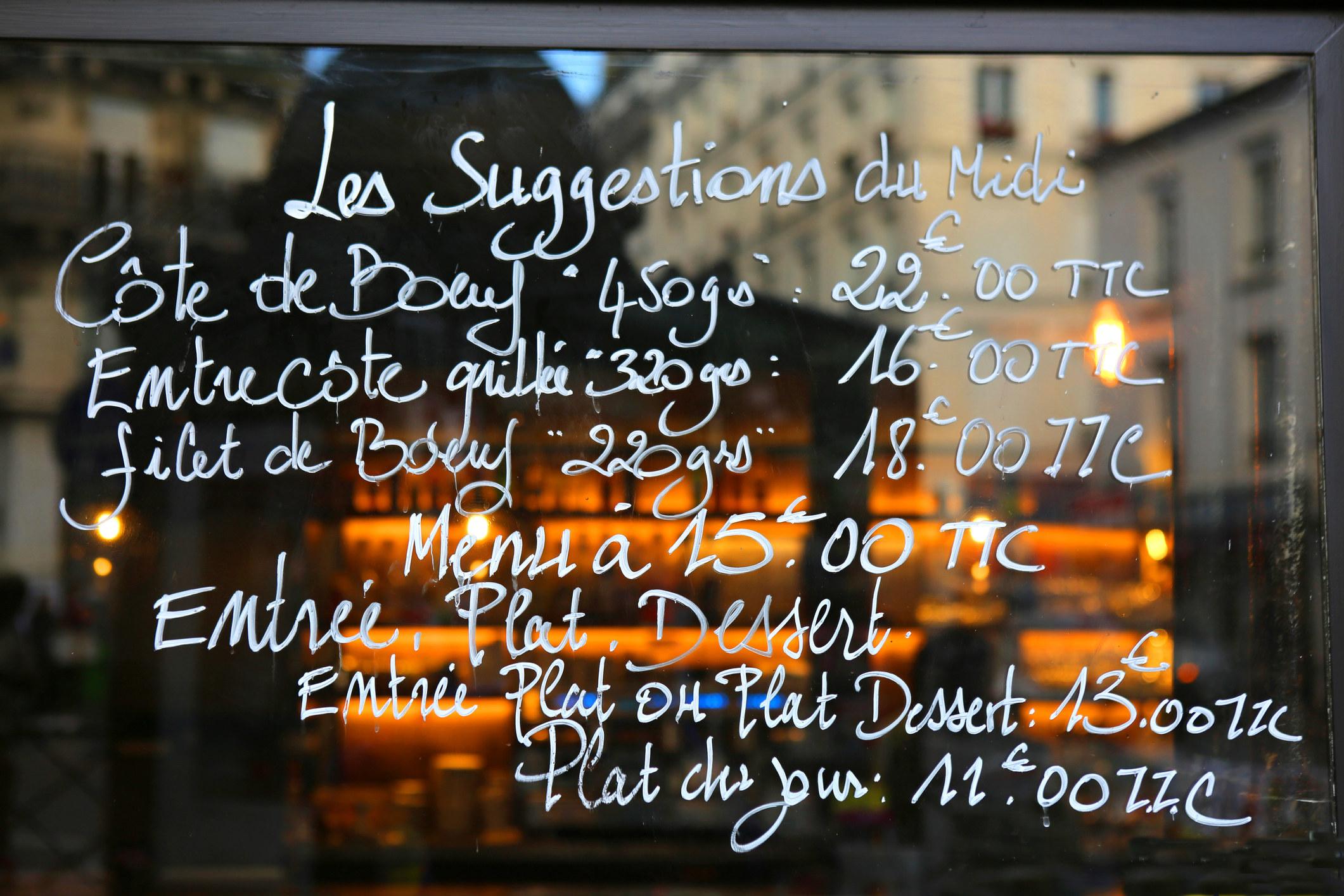A menu written in French.