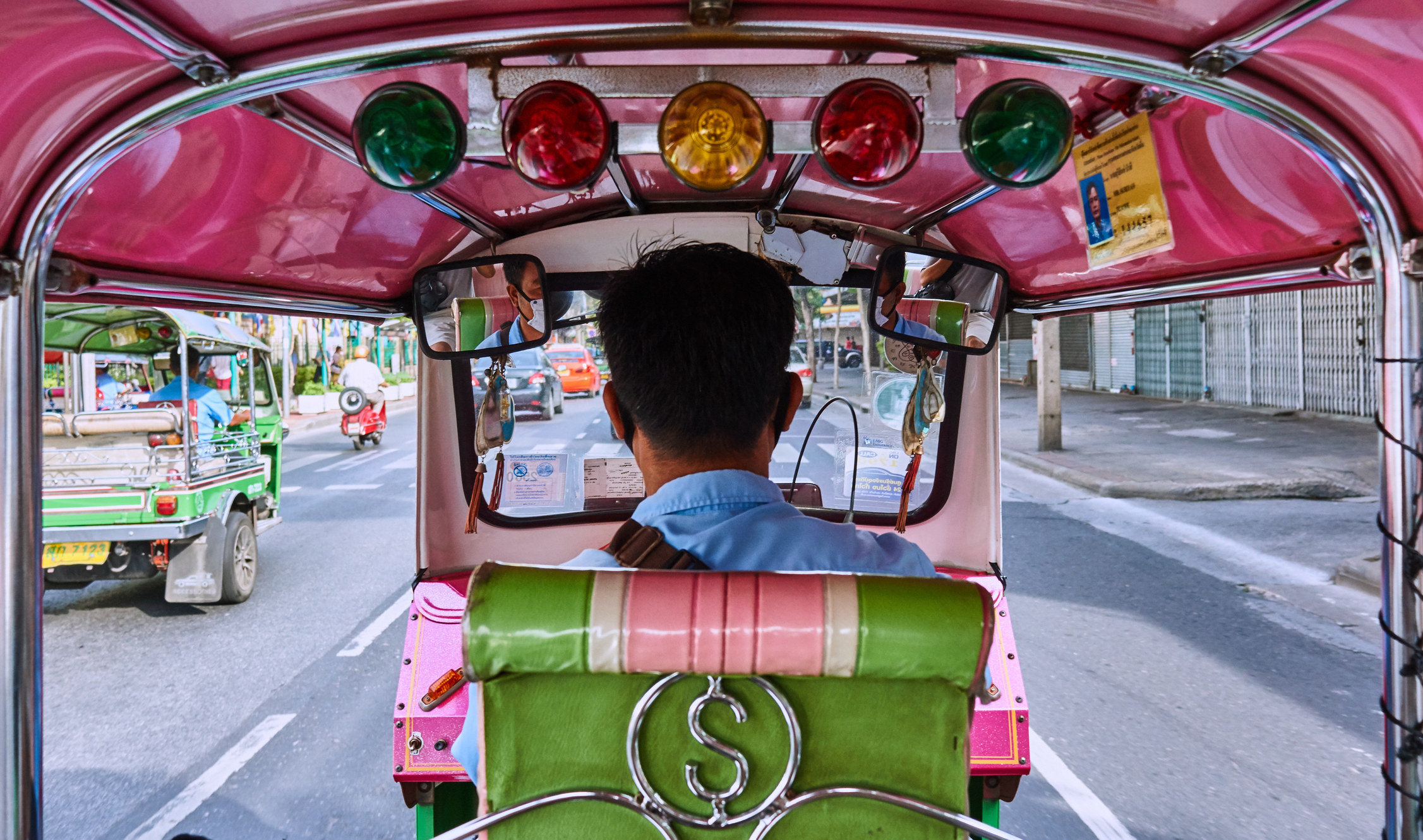 The view from the back of a Tuk Tuk in Bangkok.