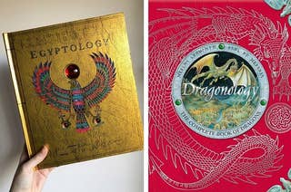Left: The cover of Egyptology which features Horus the sun god and a ruby red gem; Right: The cover of Dragonology which features a red background with an embossed dragon and an inner circle featuring another dragon