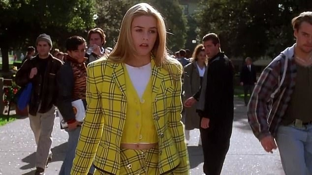 Cher walking on campus in her iconic plaid outfit