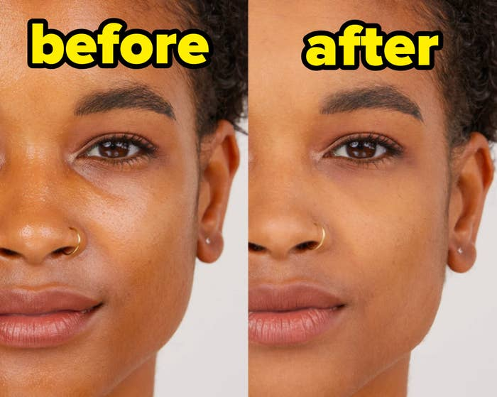 A person's face before and after using the powder