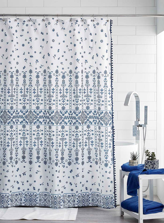 a shower curtain in a bathroom