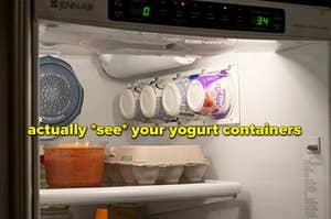 fridge wall organizer to store yogurt containers