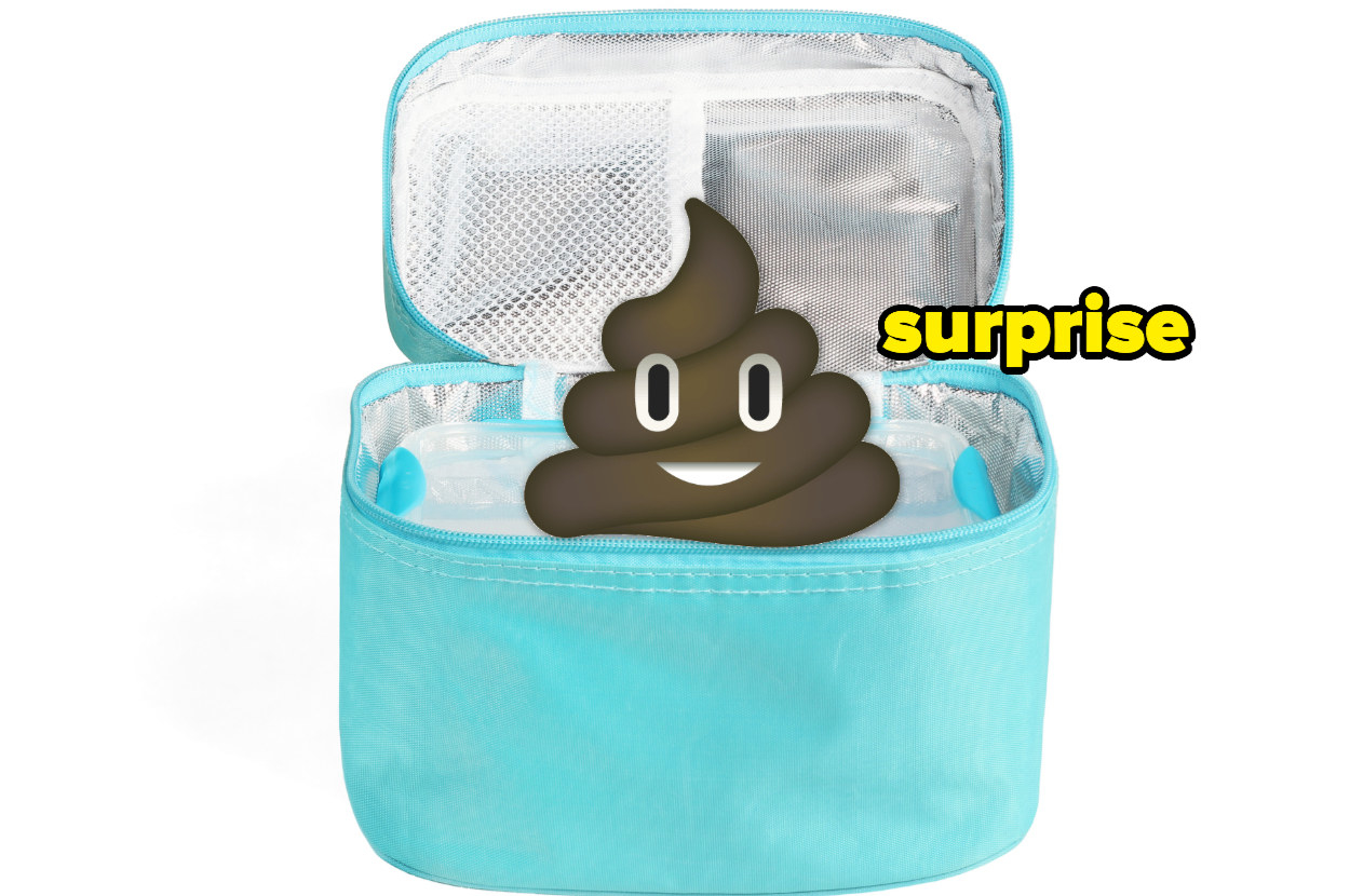 """a lunch cooler with a poop emoji and the word """"surprise"""""""