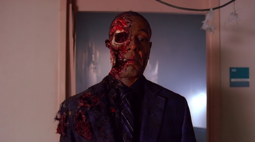 """Gus Fring with half of his head blown off in """"Breaking Bad"""""""