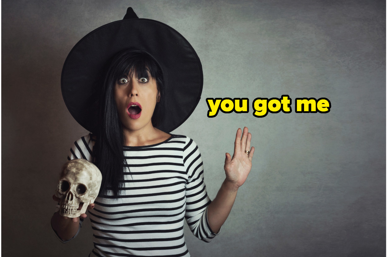 """a witch gasping and a holding a skull with the text """"you got me"""""""