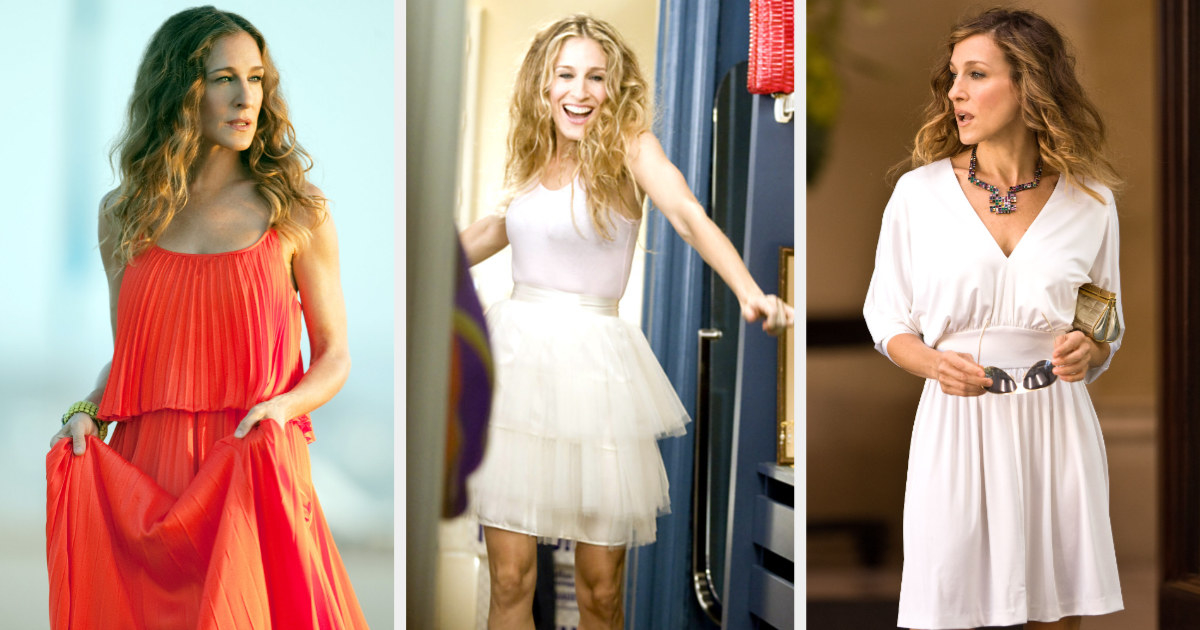 Sarah Jessica Parker in a red dress, her iconic tutu, and a white dress as Carrie Bradshaw