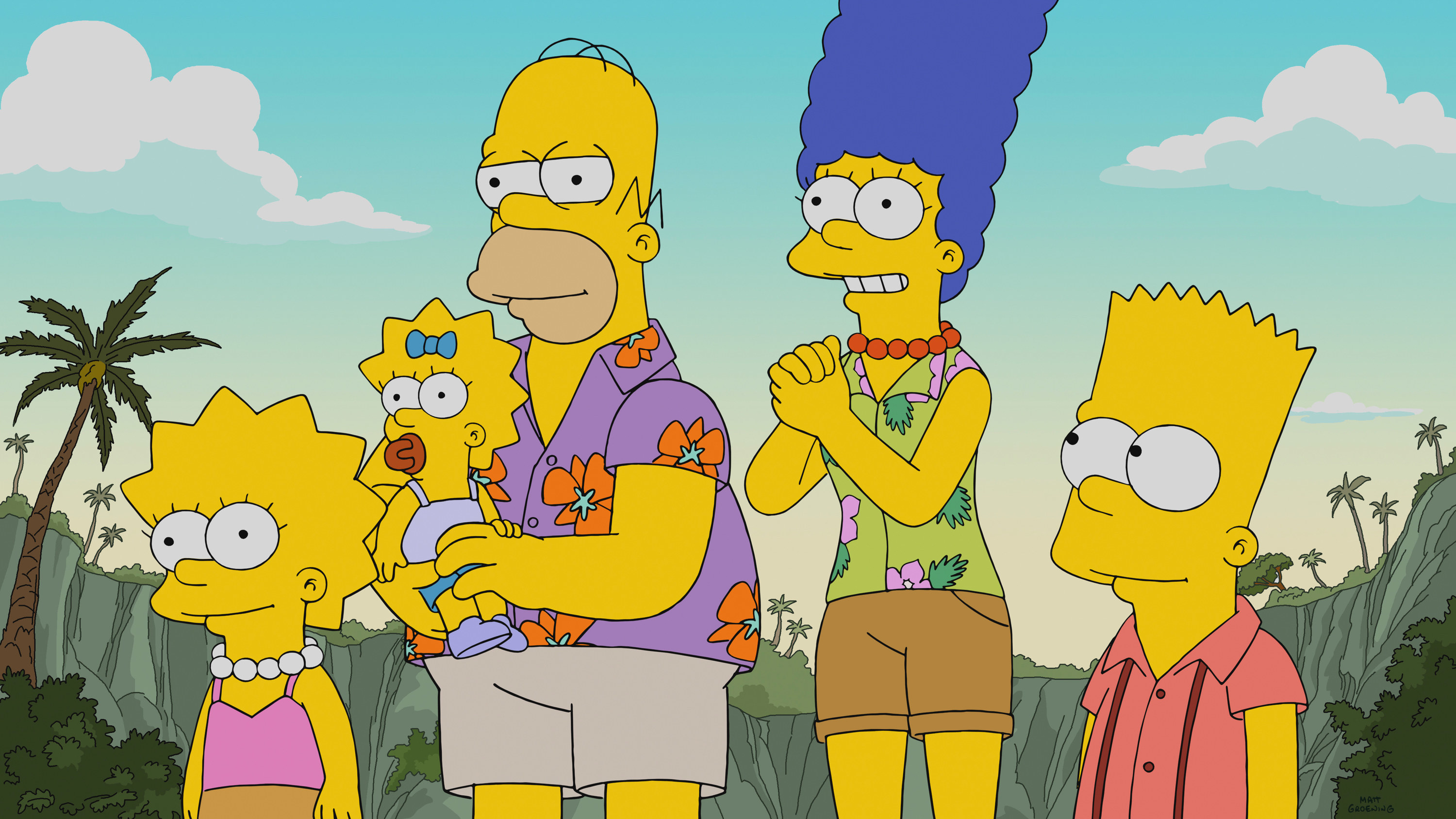 Lisa, Maggie, Homer, Marge, and Bart Simpson on a vacation