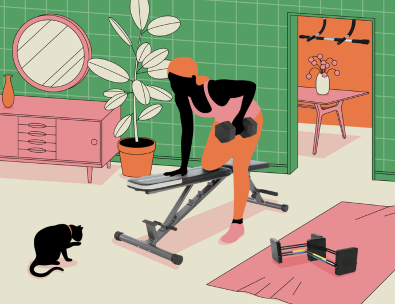 illustration of a person lifting a weight in a home with equipment around them