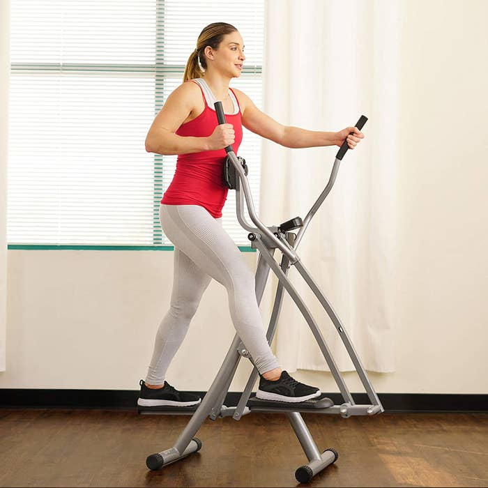Model using Sunny Health and Fitness Air Walk