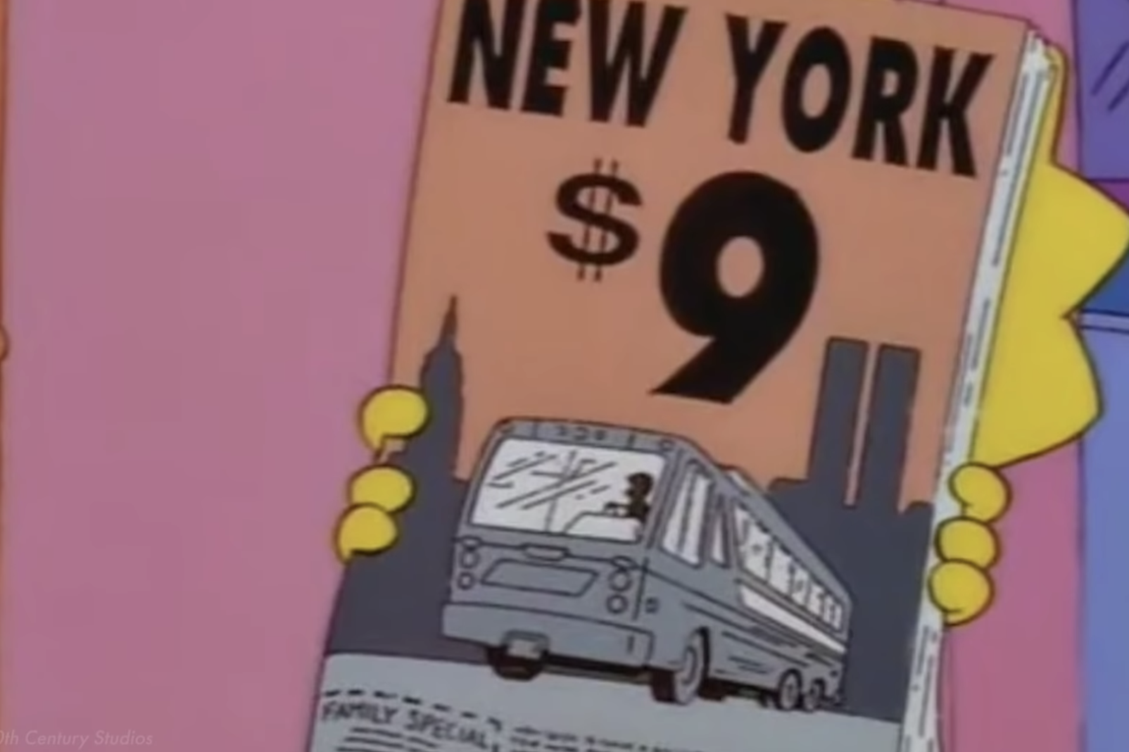"""Lisa holding a brochure advertising something for $9 with the Twin Towers, looking like an """"11,"""" in the background"""
