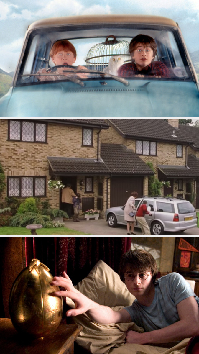 Harry and Ron driving the flying car, Privat Drive exterior, and Harry touching the golden egg