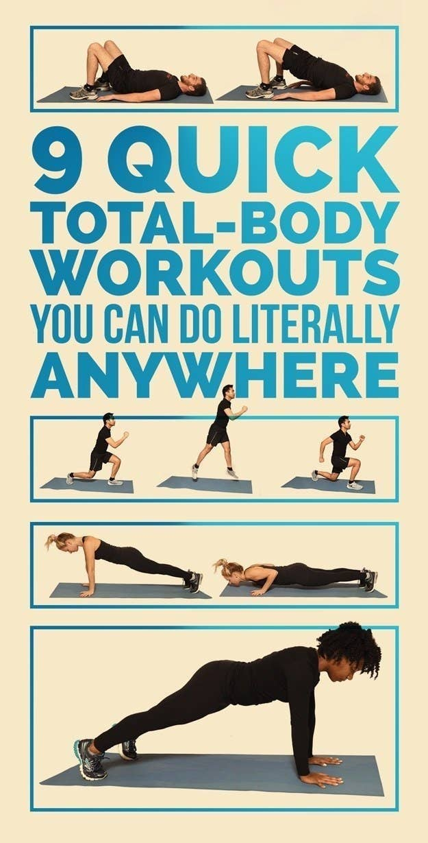 """chart with pictures of people doing bodyweight workouts and the words """"9 quick total-body workouts you can literally do anywhere"""""""