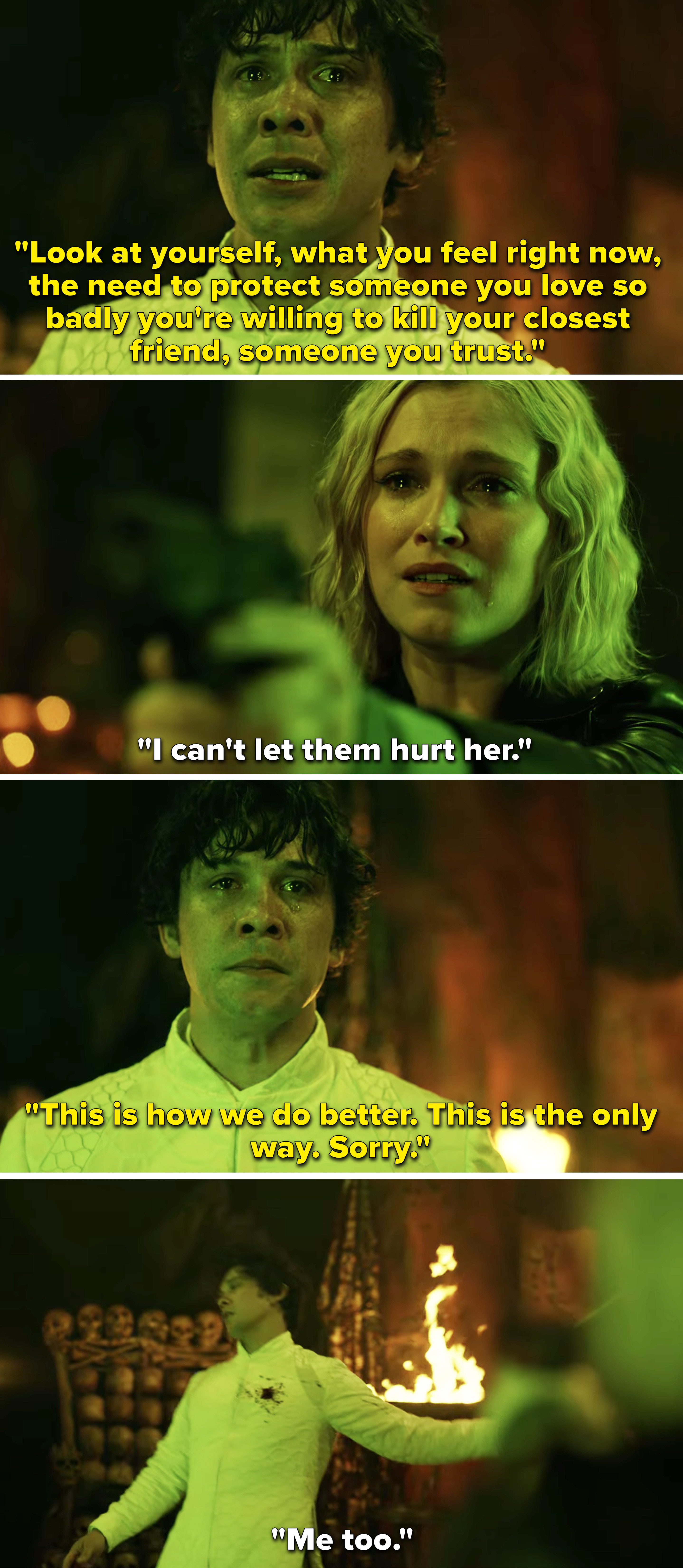 Bellamy pleading with Clarke to let him take the book and saying sorry before Clarke shoots him