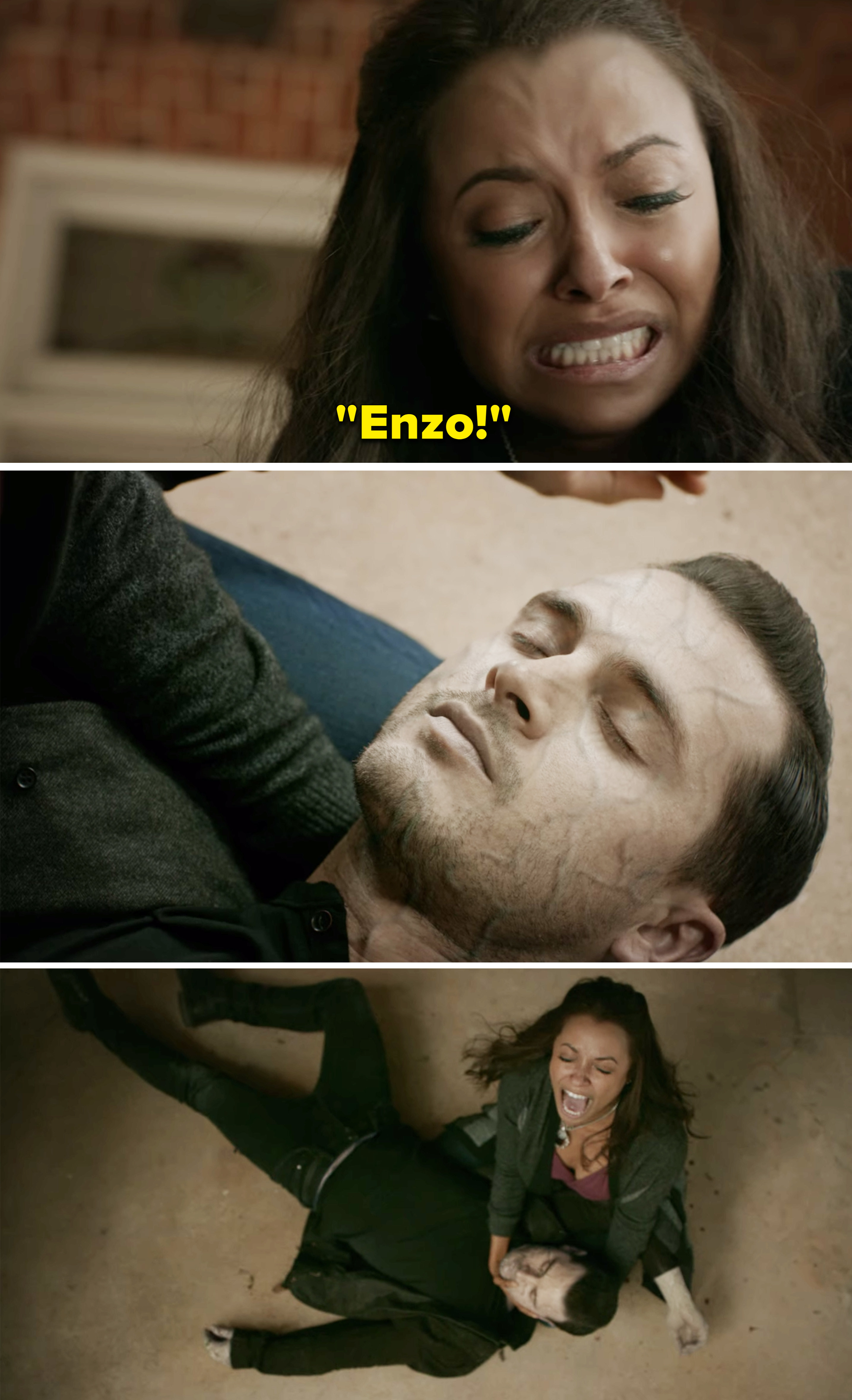 Bonnie crying over Enzo's body