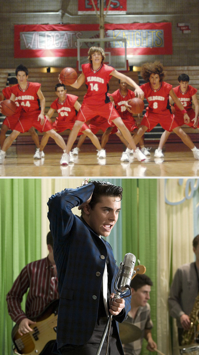 """Zac Efron wearing the wildcats jersey in """"High School Musical"""" and dressed as Link in """"Hairspray"""""""
