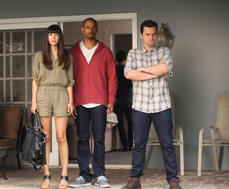 "Hannah Simone, Damon Wayans Jr., and Jake Johnson on the set of ""New Girl"""
