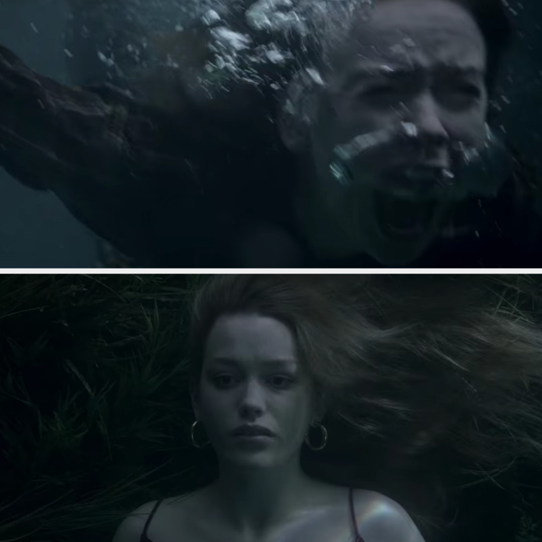 Jamie screams as she finds Dani drowned at the bottom of the lake