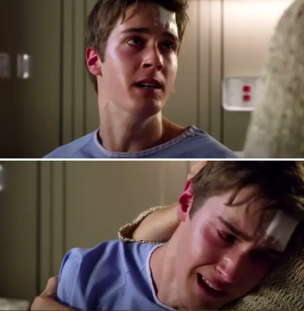Miles breaks down in his mom's arms at the hospital