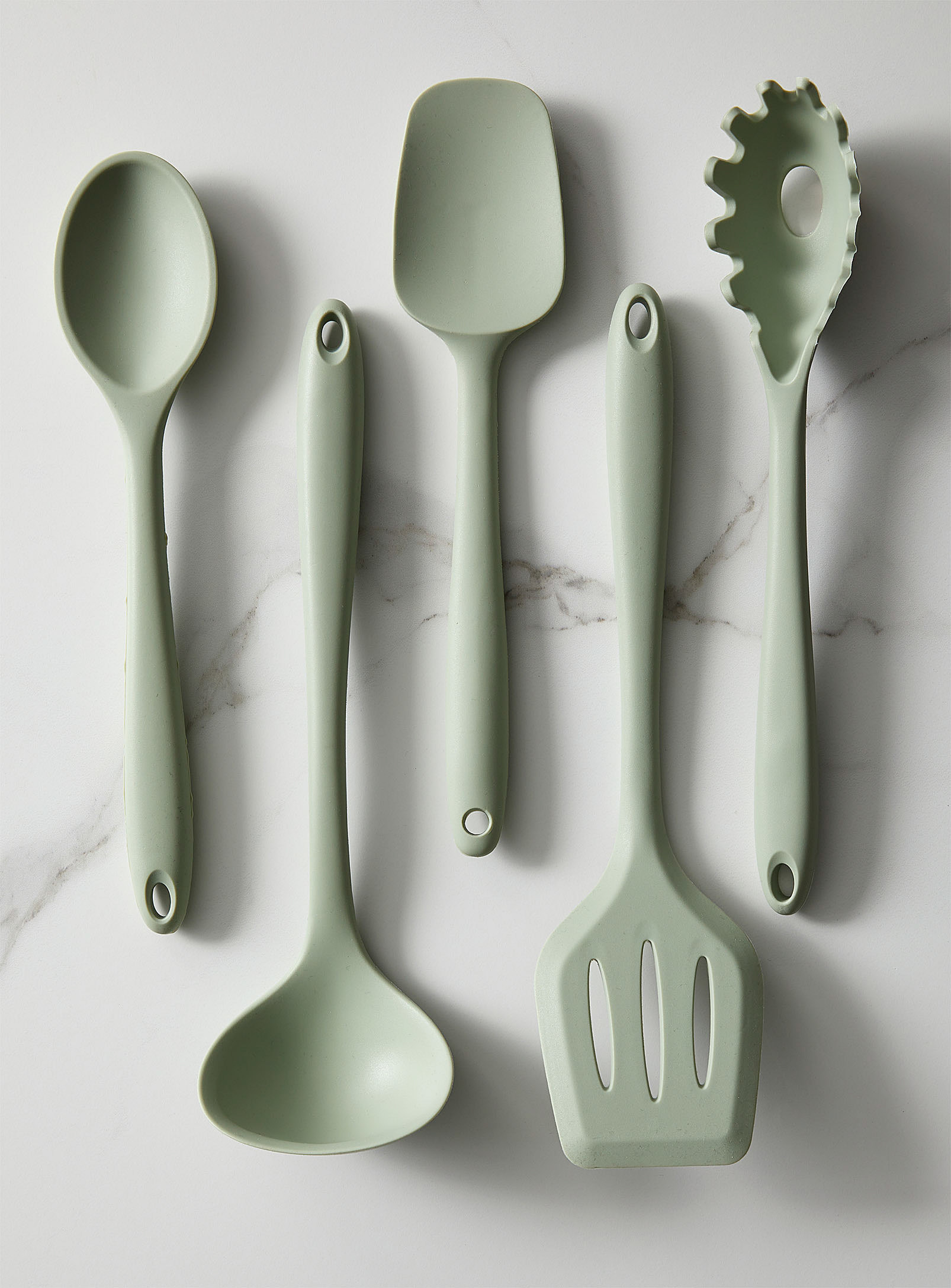 A flatlay of silicone kitchen utensils