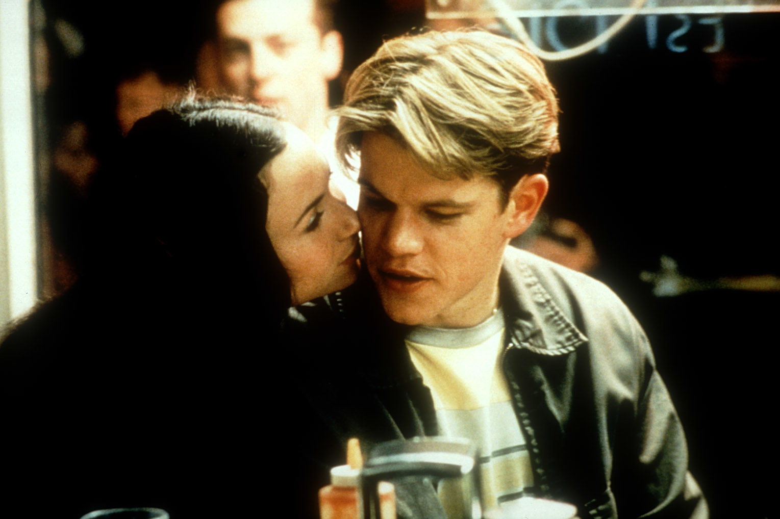 Matt Damon being kissed on the cheek in a scene from Good Will Hunting