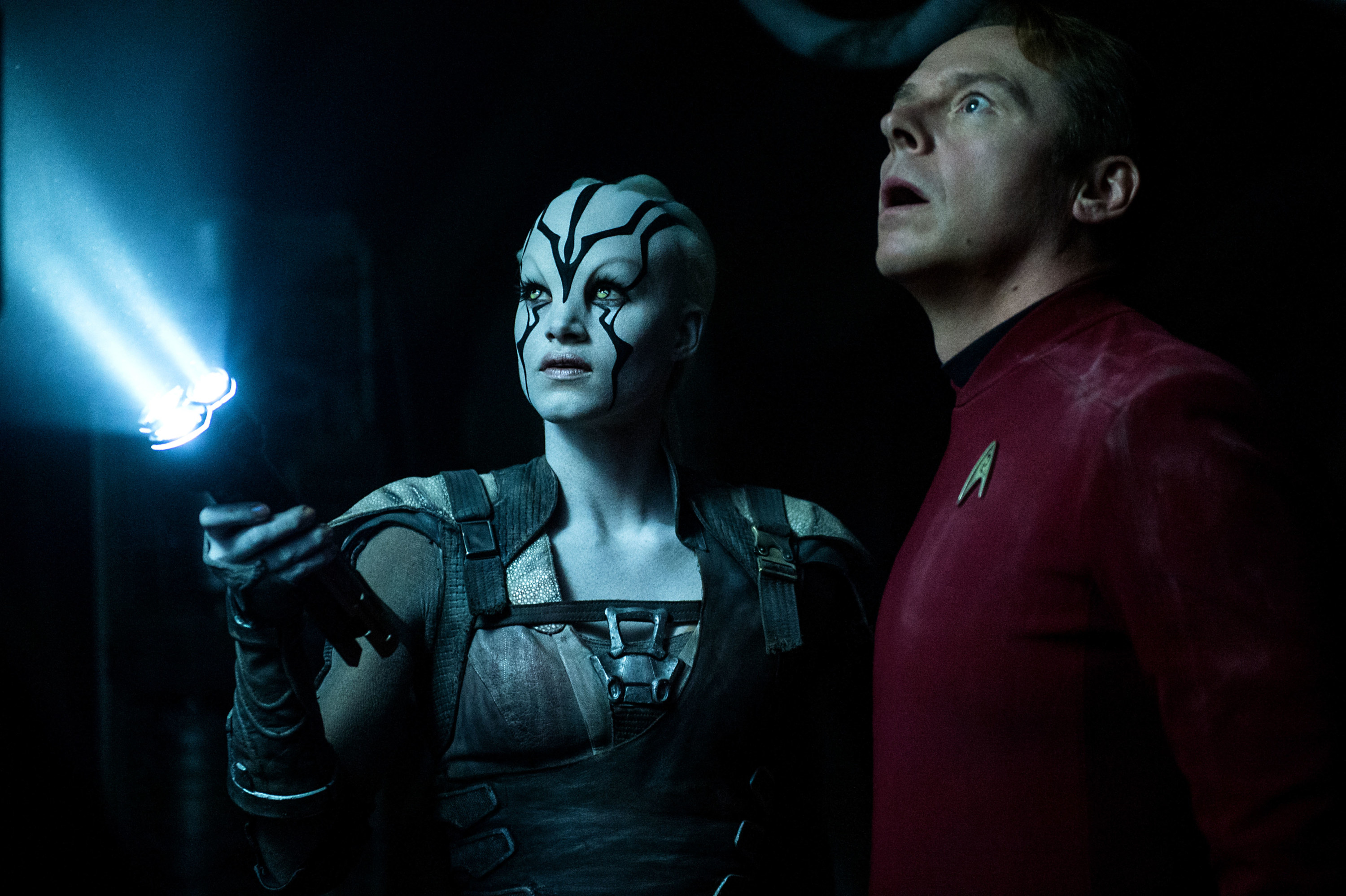 """Simon Pegg wearing the Starfleet badge in """"Star Trek"""""""