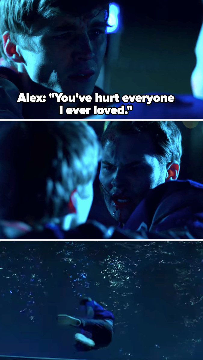 """Alex: """"You've hurt everyone I've ever loved,"""" throws Bryce into the water"""