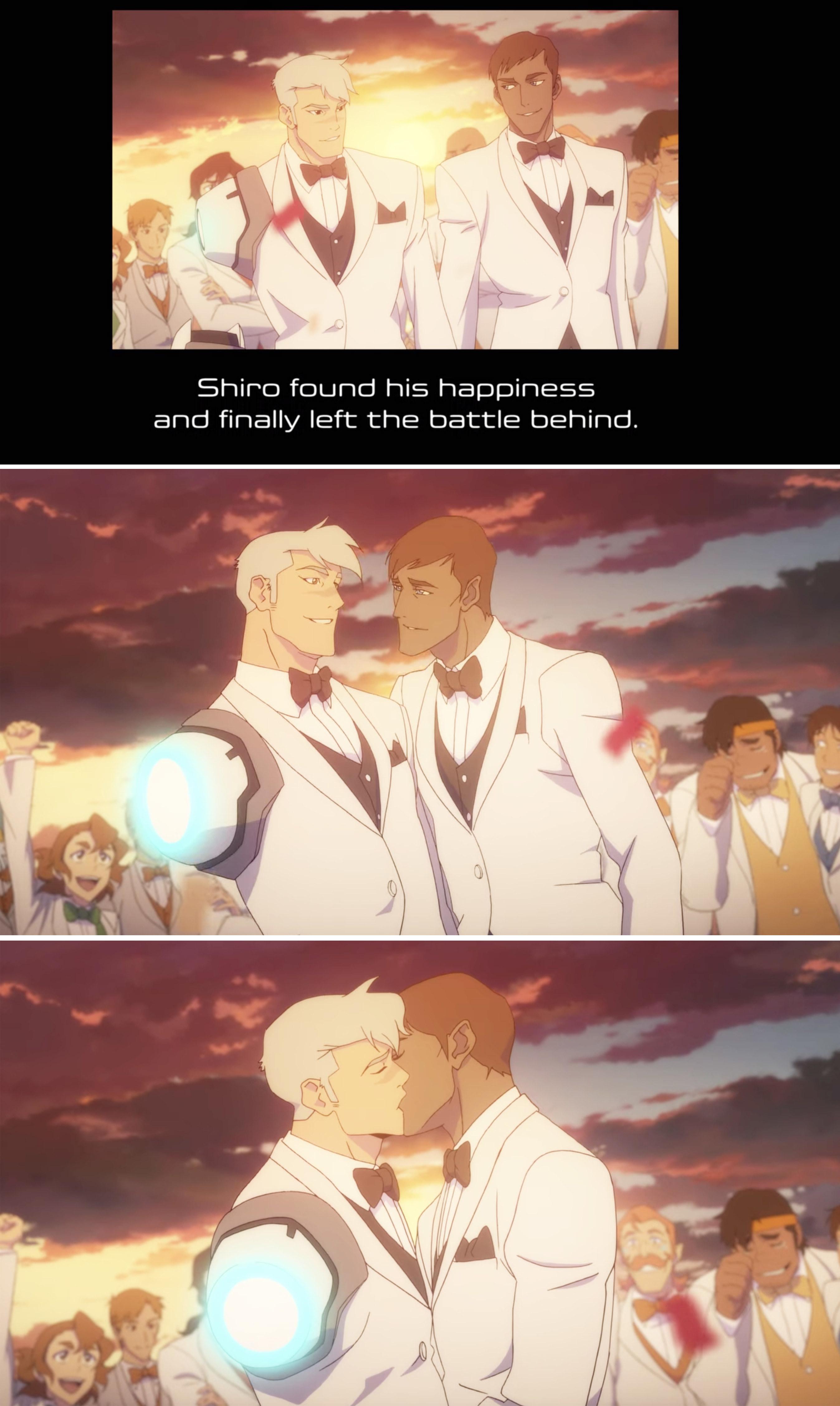 Shiro and his husband kissing