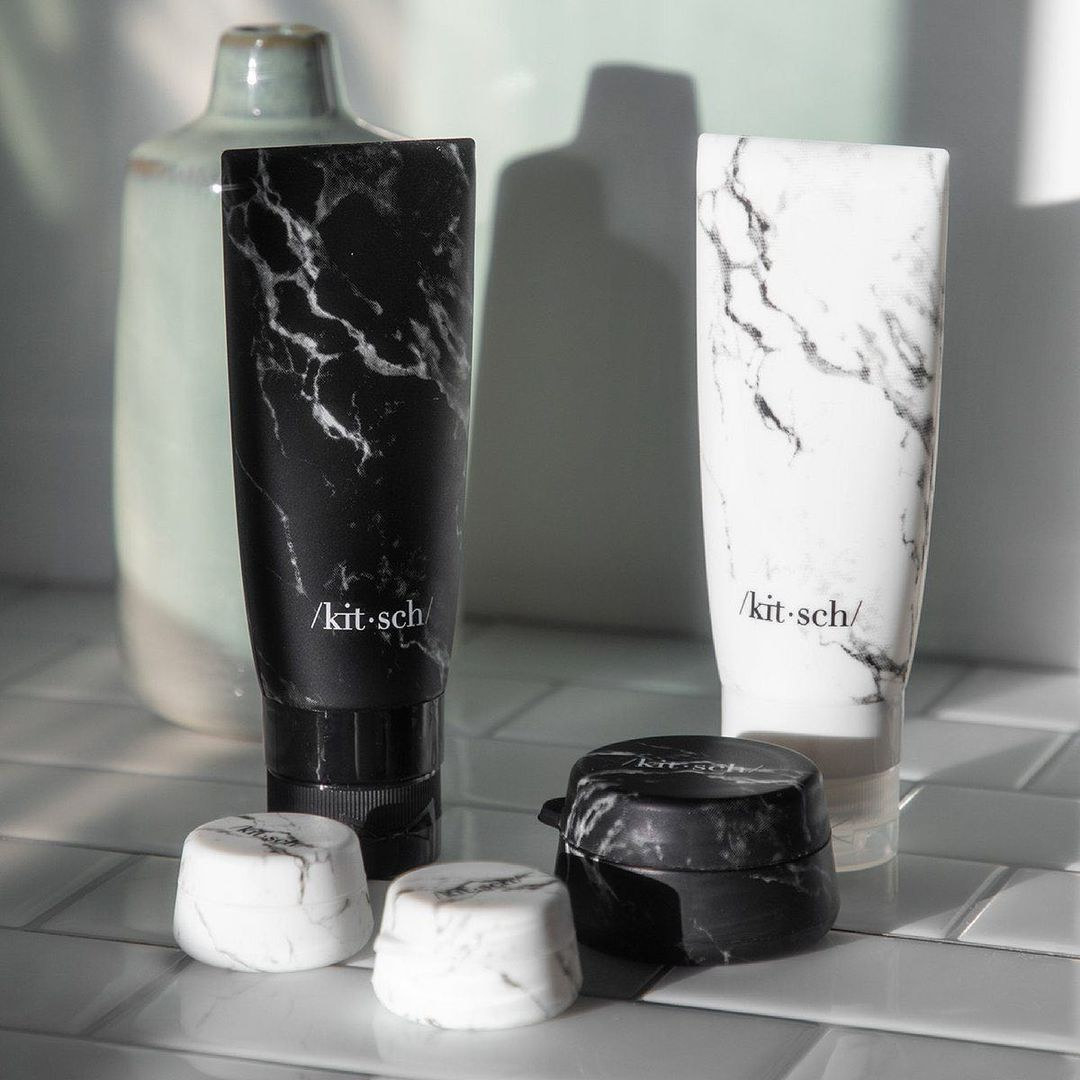 A pair of silicone tubes with a marble design