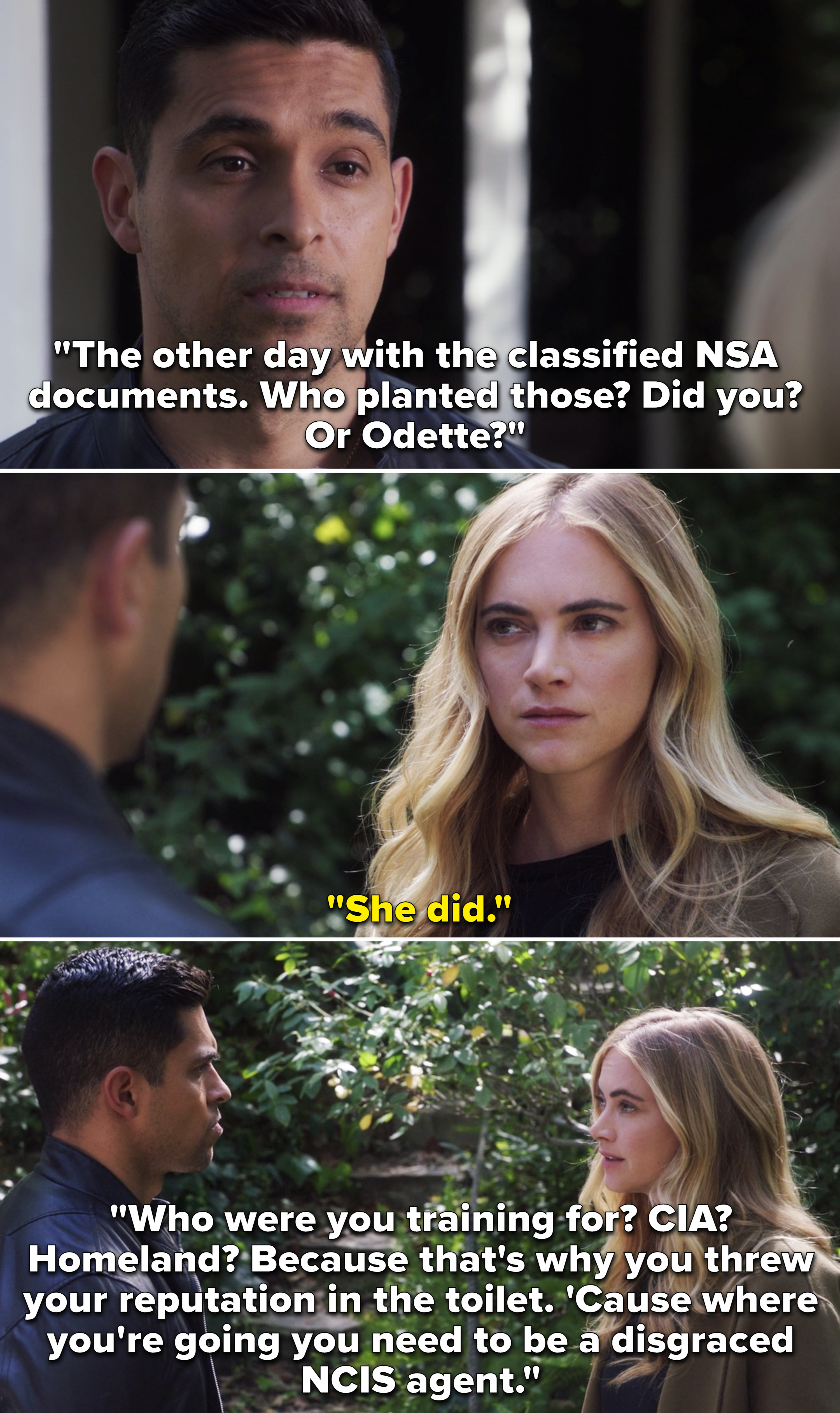 Nick asking Ellie who leaked the NSA files and who is she training for