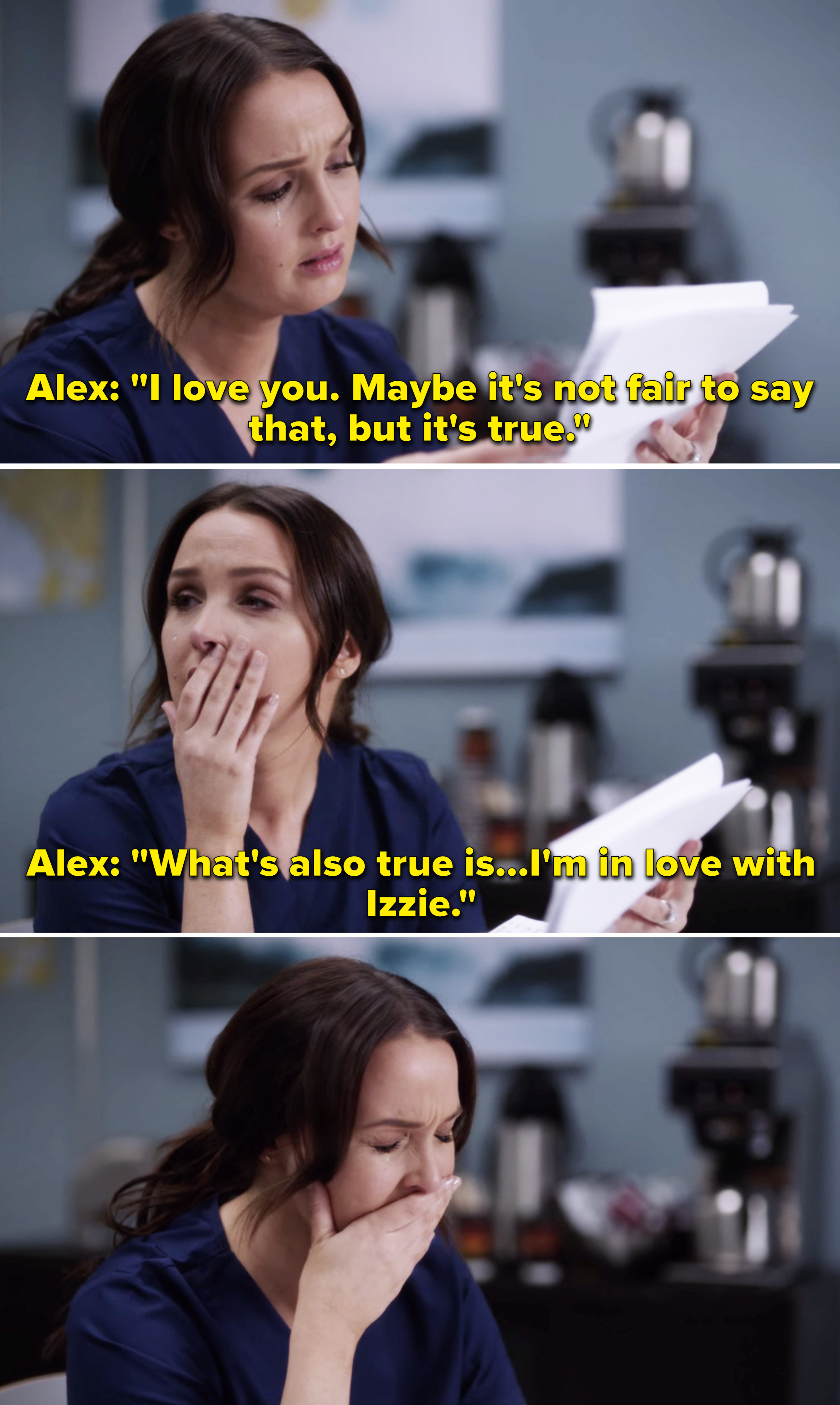 """Jo crying while reading Alex's letter that says, """"What's also true is I'm in love with Izzie"""""""