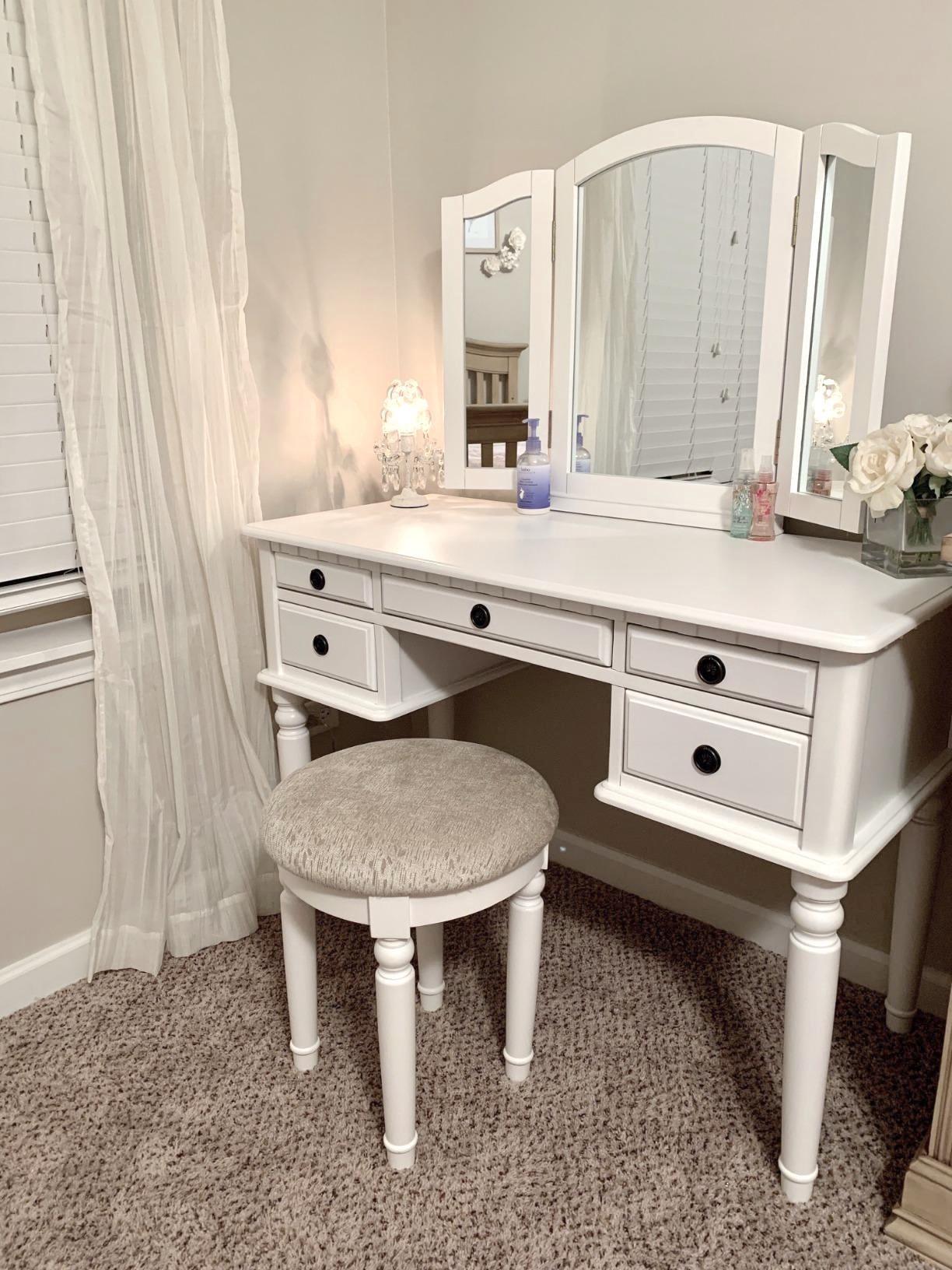 Reviewer's vanity is in a bedroom