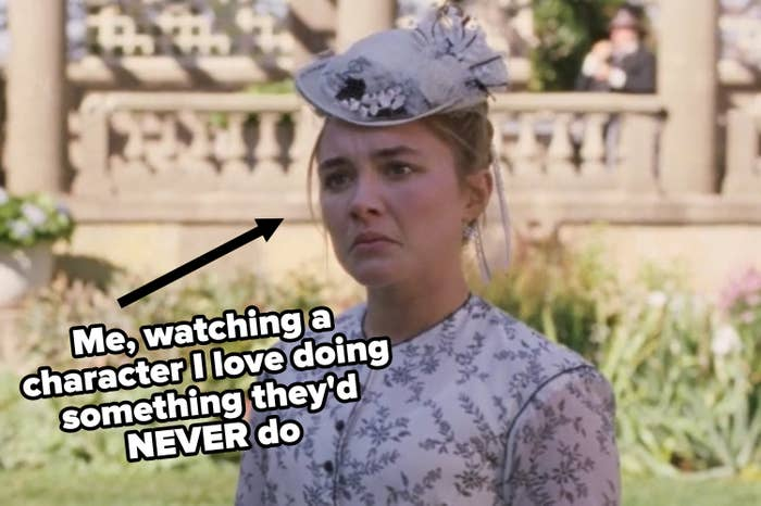 Florence Pugh pouting in Little Women as Amy March