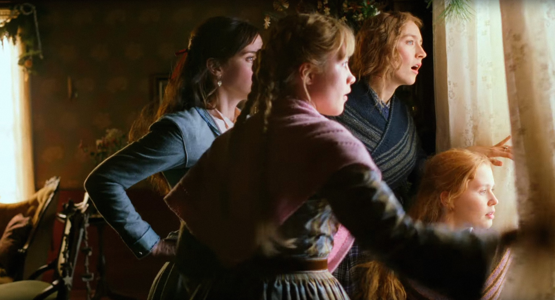 Emma Watson, Florence Pugh, Saoirse Ronan, and Eliza Scanlen look out the window.