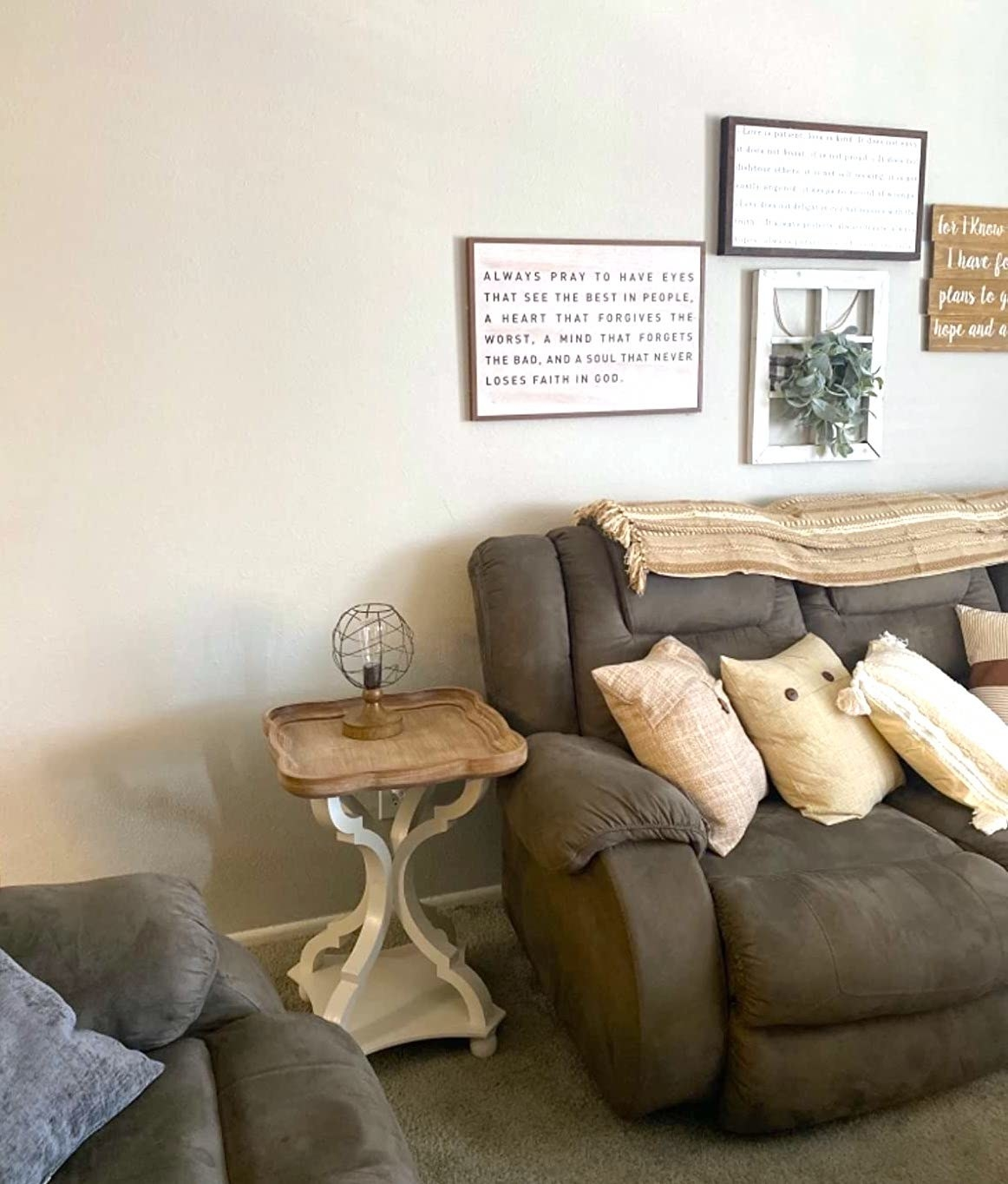 Reviewer's living room shows the side table next to a sofa