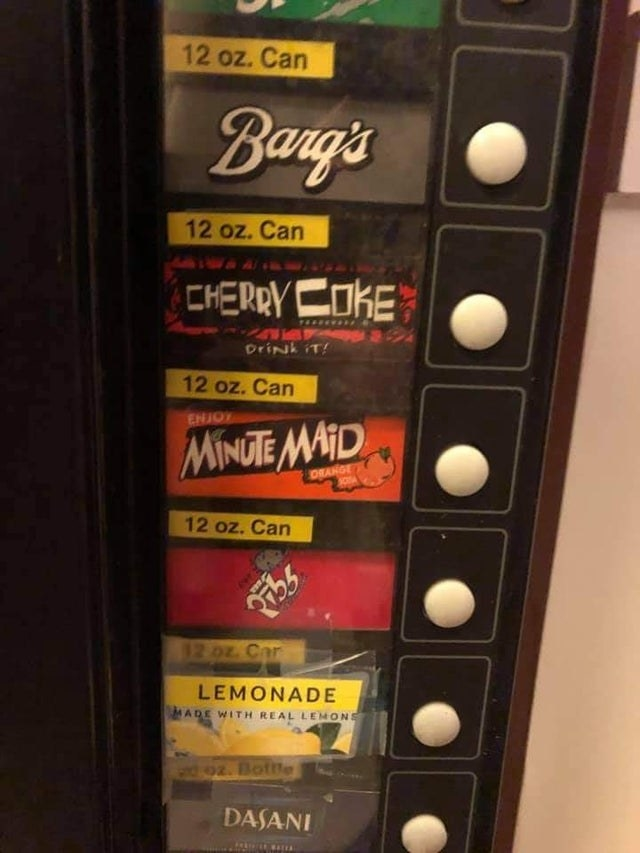 Vending machine showing different sodas