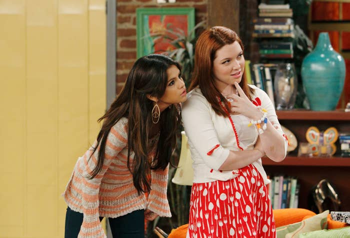 Selena Gomez (L) and Jennifer Stone in Wizards of Waverly Place