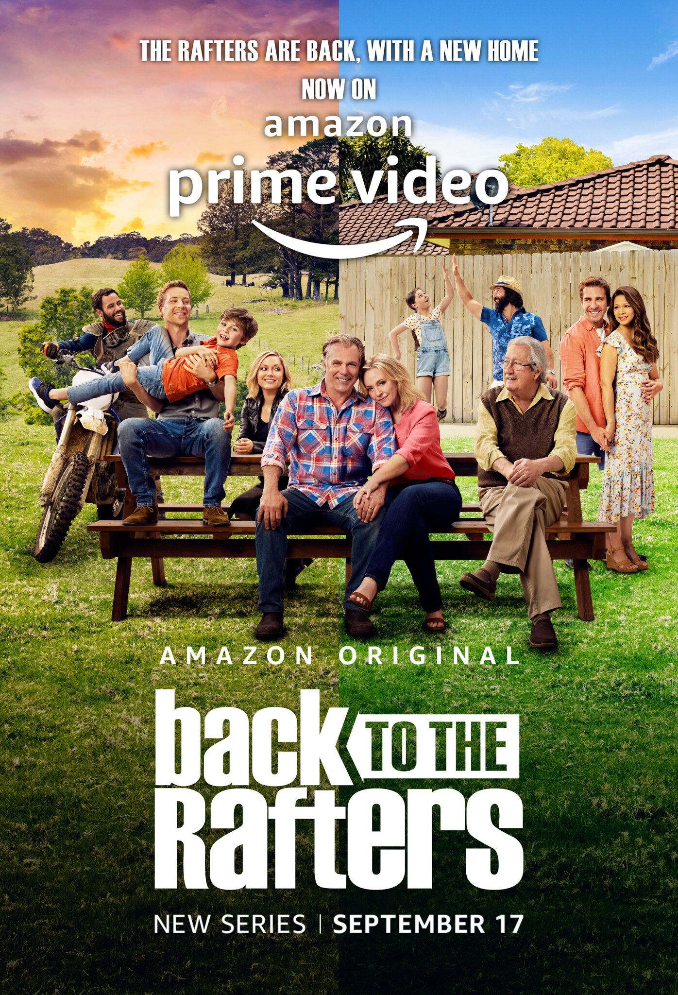 The poster for Back To The Rafters which shows the Rafter family and some new characters