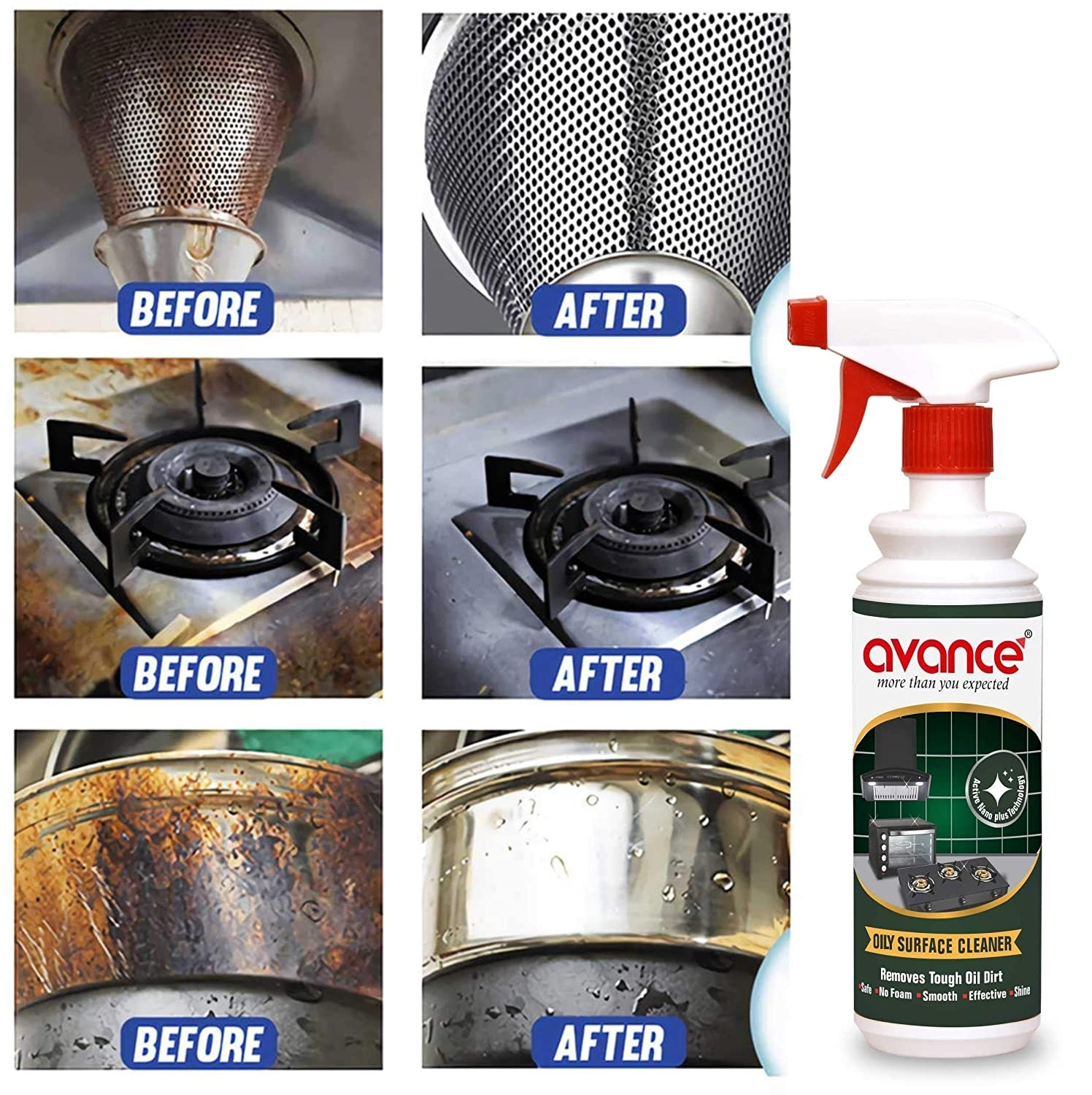 Before and after images of liquid cleaner effects on drains, utensils and gas.