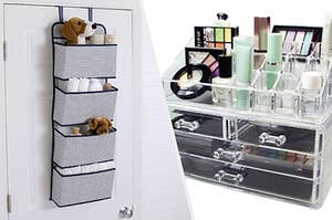4 compartment door hanging space saver, acrylic makeup organiser with drawers filled with products
