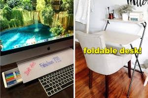desktop with whiteboard drawer, foldable desk
